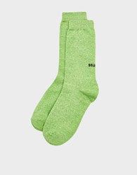 Stussy Everyday Sock In Lime Marl