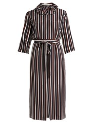 Nina Ricci Striped Exaggerated Collar Silk Midi Dress Brown Multi