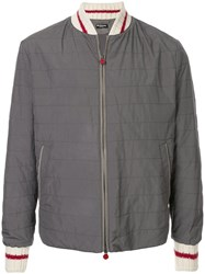 Kiton Quilted Bomber Jacket Grey