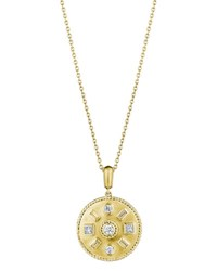 Penny Preville Round And Baguette Diamond Medallion Necklace