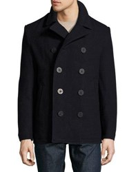 Original Penguin Double Breasted Wool Blend Pea Coat Dark Blue