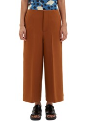 Marni Wide Leg Double Faced Crepe Culottes Brown