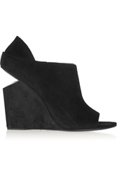 Alexander Wang Alla Cutout Heel Suede Wedge Ankle Boots