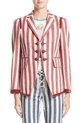 Roberto Cavalli Women's Stripe Hemp And Cotton Blazer