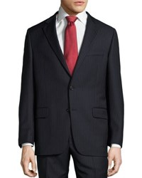 Hickey Freeman Pinstripe Two Button Suit Blue