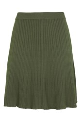 Topshop Modern Ribbed Flippy Skirt Khaki
