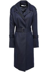 Victoria Beckham Woman Wool Twill Hooded Trench Coat Navy