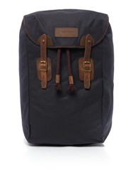 Barbour Waxed Leather Backpack Navy