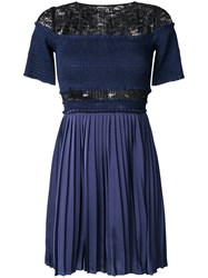 Three Floor Paris Nights Pleated And Ruched Dress Polyester Blue