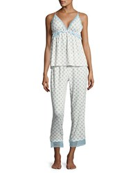 Flora Nikrooz Floral Printed Lace Trimmed Pajamas Ivory