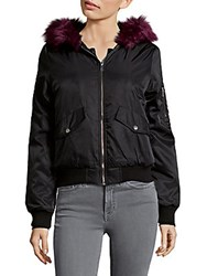 Candc California Faux Fur Trim Bomber Jacket Wine