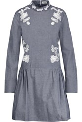 Suno Embroidered Cotton Chambray Mini Dress Dark Denim