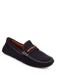 Saks Fifth Avenue Leather Boat Shoes Navy