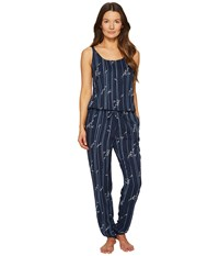 Emporio Armani Printed Viscose Loungewear Sleeveless Playsuit Bamboo Print Marine Women's Jumpsuit And Rompers One Piece Blue