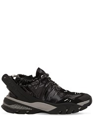 Calvin Klein 205W39nyc Carsdat Shiny Nylon And Leather Sneakers Black