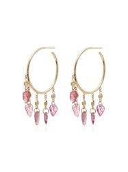 Jacquie Aiche Leaf Charm Earrings Yellow Gold Pink