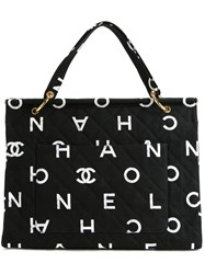 Chanel Vintage Quilted Logo Tote Black