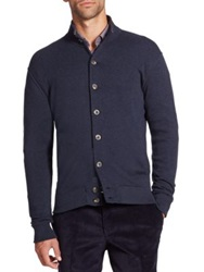 Saks Fifth Avenue Pima Cotton Knit Cardigan Navy Charcoal