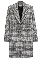 Lanvin Checked Tweed Coat Black And White
