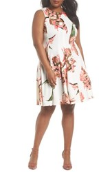 Gabby Skye Plus Size Women's Floral Keyhole Fit And Flare Dress Coral Ivory