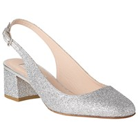 Lk Bennett L.K. Chloe Slingback Block Heeled Court Shoes Silver