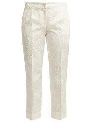 Dolce And Gabbana Floral Jacquard Cotton Blend Trousers White