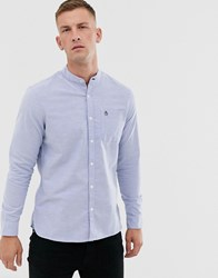 Original Penguin Icon Logo Grandad Collar Oxford Shirt In Light Blue