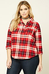 Forever 21 Plus Size Plaid Flannel Shirt Red Black