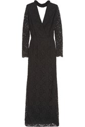Emilio Pucci Sequin Embellished Broderie Anglaise Cotton Blend Gown Black