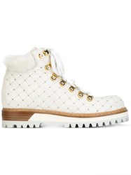 Le Silla Studded Hiking Boots White