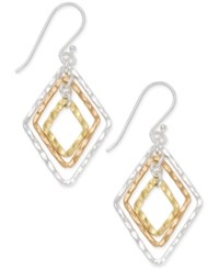 Giani Bernini Tri Tone Geometric Drop Earrings In Sterling Silver Gold Plated Sterling Silver And Rose Gold Plated Sterling Silver Only At Macy's Tri Tone