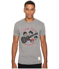 The Original Retro Brand Short Sleeve Tri Blend Monkees Tee Streaky Grey Men's T Shirt Pewter