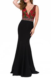 Jovani Women's Floral Lace Mermaid Gown