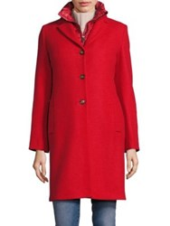 Max Mara Bombo Two In One Coat And Quilted Down Vest Red
