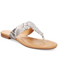 Alfani Harlquin Flat Thong Sandals Only At Macy's Women's Shoes Black White Python