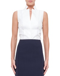 Akris Sleeveless Notched Stand Collar Blouse White