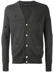 Alexander Mcqueen V Neck Cardigan Men Cashmere L Grey