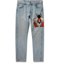 Gucci Slim Fit Embroidered Stonewashed Denim Jeans Light Denim