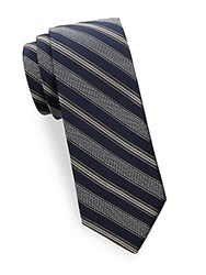 Saks Fifth Avenue Textured Stripe Silk Tie Navy Grey