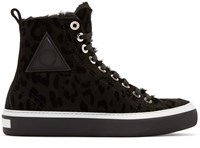 Jimmy Choo Black Leopard Boris High Top Sneakers