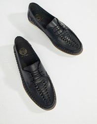 Kg By Kurt Geiger Woven Lace Up Shoes In Navy Leather Blue