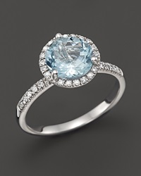 Bloomingdale's Aquamarine And Diamond Halo Ring In 14K White Gold Blue White
