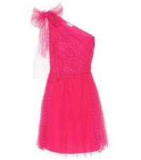 Red Valentino One Shoulder Tulle Trimmed Minidress Pink