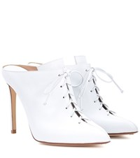 Francesco Russo Leather Lace Up Mules White
