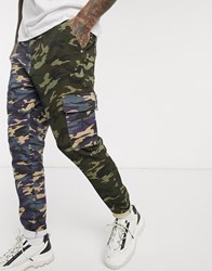 Liquor N Poker Spliced Cargo Trousers With Camo Print Multi