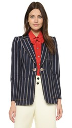 Marc Jacobs Blazer With Crystal Button Closure Indigo