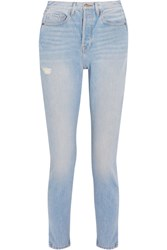 Frame Le Original Skinny Distressed High Rise Straight Leg Jeans Blue