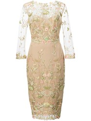 Marchesa Notte Flower Embroidered Dress Nude And Neutrals