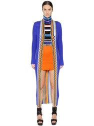Missoni Ribbed Stretch Wool Knit Long Cardigan
