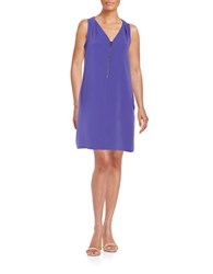 Trina Turk Front Zip Shift Dress Electric Purple